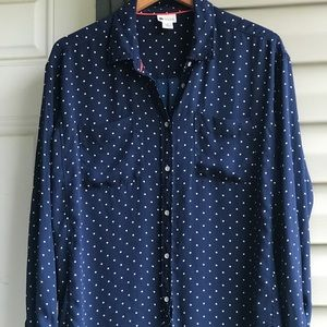 Navy Blue and white button down